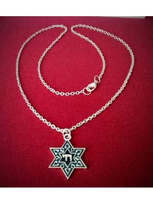 "035 Кулон звезда Давида с буквой ""hей"" на цепочке"