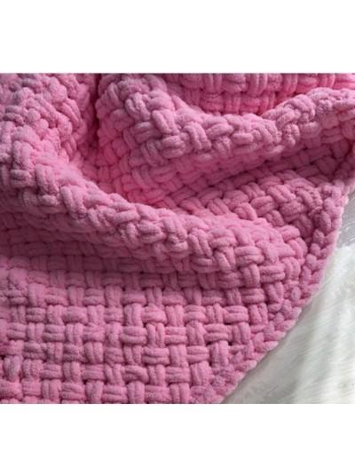 Плед в'язаний Pink fuchsia різних размірів