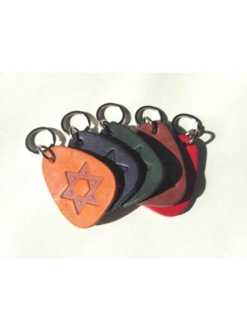 Брелок для ключей кожаный с еврейской символикой | Звезда Давида | 5,5 см