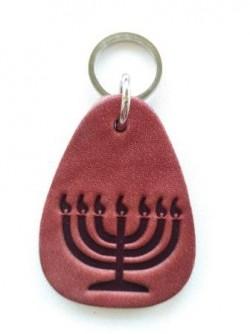 Брелок для ключей кожаный с еврейской символикой | Минора | 5,5 см