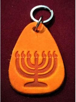 Брелок на ключи кожаный с еврейской символикой | Минора | 5,5 см