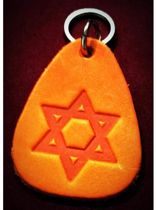 Брелок на ключи кожаный с еврейской символикой | Звезда Давида | 5,5 см