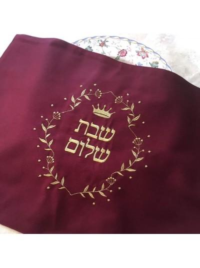 Покрывало для халы| Надпись «Шабат шалом» | Бордо с золотом 35*47см