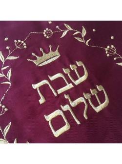 Покрывало для халы  Надпись «Шабат шалом»   Бордо с золотом 35*47см