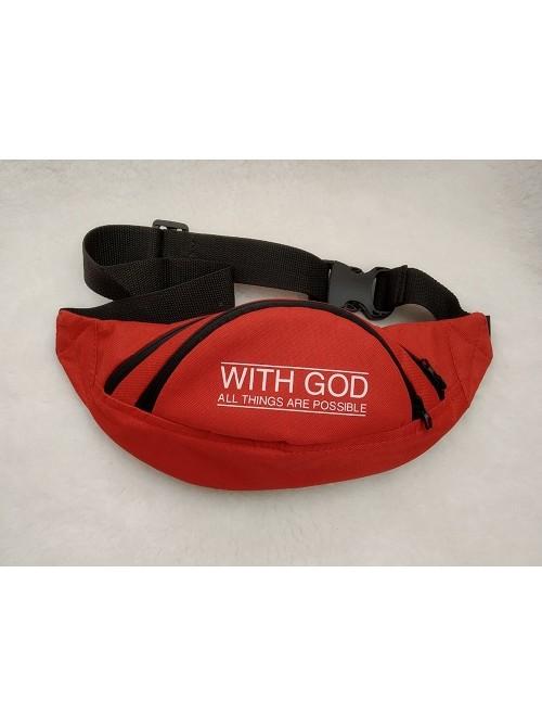 """Поясная сумка бананка через плечо с принтом """"With God all things are possible"""" - """"С Божьей помощью все возможно"""""""