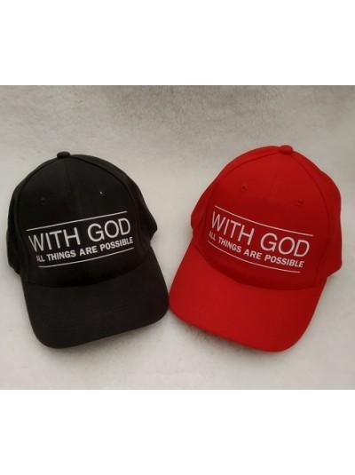 """Бейсболка с принтом - """"With God all things are possible """" - С Божьей помощью все возможно"""