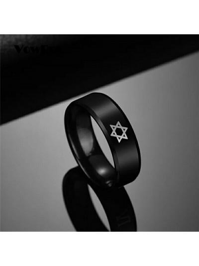 Кольцо из титановой стали с еврейской символикой  ✡