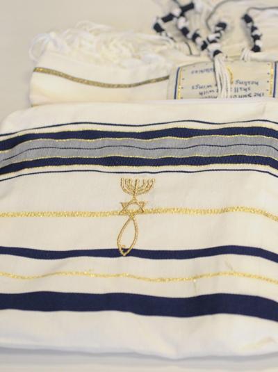 Мессианский талит | Молитвенное покрывало с вышитой еврейской молитвой | 53*180 см